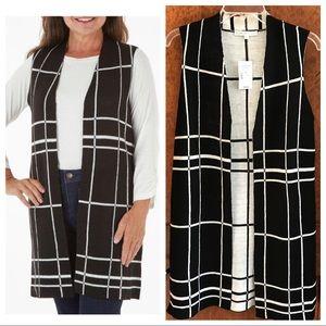 Cleo black & white windowpane sweater vest
